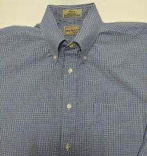 Chas Reed & Co. by Enro Large Blue Check L/S Button Front Dress Shirt NWOT