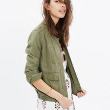Madewell League Cargo Jacket M Olive Green Lightweight Linen Blend Fall Military