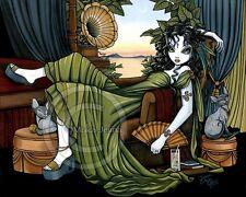 Sphynx Cat Fairy Art Print Signed Serena Gothic Victorian Posh Myka Jelina