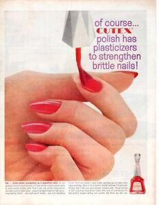 Vintage Beauty Fashion ad 1961 Nail polish Cutex Flaming Red color Platicizers