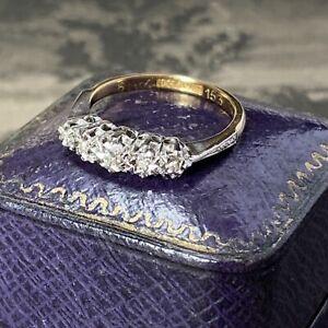 Edwardian 18ct Gold Platinum 5 Stone Diamond Ring Antique Half Eternity UK M.5