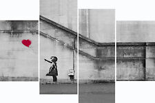 Super Extra Large Banksy Pink Balloon Girl Multi 4 Panel Set Art Canvas Picture