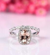 Certified 2.25Ct Pink Cushion Diamond Engagement Wedding Ring 14k White Gold