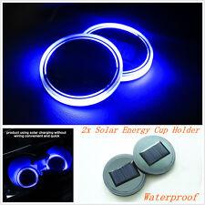 2pc Solar Cup Holder Bottom Pad LED Light Cover Interior Trim Decor For All Cars
