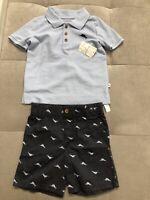 NWT Tommy Bahama Boys Shorts Shirt Set Size 3-4 Blue Nautical Outfit