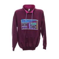Pullover Vintage Motiv Gr.  L Stehkragen Sweater Sweatshirt Pulli Lila
