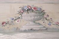 Wallpaper Border Floral Roman Urn Flowers Vines Gray Taupe 7922 Grey Rose NIP