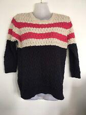 Mango Ladies Navy Blue Pink   Cream Knit Cotton Jumper Size Medium 2e8bdf318
