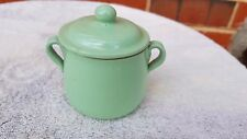 VINTAGE COLLECTABLE GREEN PORCELAIN SMALL LIDDED POT made in ENGLAND