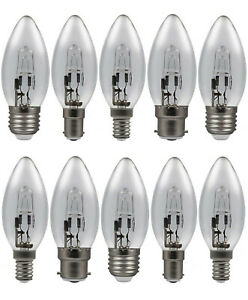 10 x Eveready Halogen Energy Saving ECO Candle Bulbs 20w 30w 46w B22 E27 E14 B15