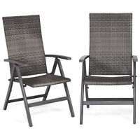 2PC Set Gray Outdoor Folding Wicker Rattan High Back Chairs Patio Deck Furniture