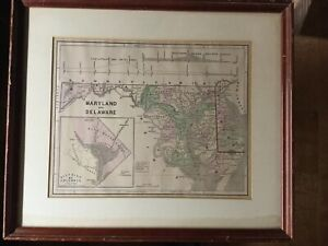 Antique Map Delaware and Maryland [Original] Pre 1863 Hand Colored FRAMED DC Inc