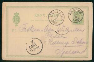 Mayfairstamps Denmark 1891 Assens to Hellerup Stationery Card wwo90587