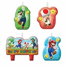 4pk Candles Super Mario Bros & Friends Children's Party Birthday Cake Toppers