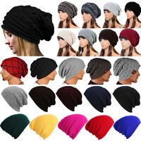 Mens Ladies Women Soft Warm Winter Knitted Slouch Oversize Long Beanie Skull Hat