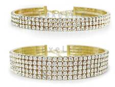 Gold Rhinestone Choker Necklace 3 and 5 Row 2 Pack Shiny