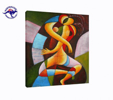 GIFT OF LOVE HUGE PAINTING CUBISM TECHNIQUE HAND PAINTED OIL ON CANVAS