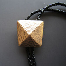 New Original Vintage Gold Plated Geometric Patterns Bolo Tie Leather Necklace