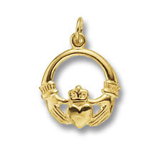 Yellow Gold Claddagh Pendant Hallmarked British Made Love Friendship
