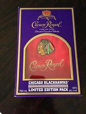 CROWN ROYAL Red Felt Chicago Blackhawk Drawstring Bag & Box