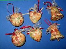 Christmas Holiday Tree Ornaments Decorations Bell , Ball Hart Lot Of 6