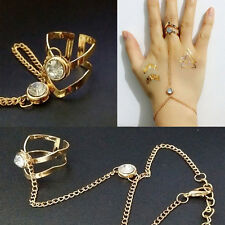 1Pcs Women's Rhinestone Golden Bracelet Bangle With Attached Ring Slave Chain