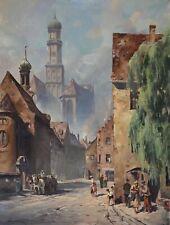 Original Ölgemälde Ölbild alt antik Impressionismus Romantik Stadt Landschaft