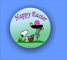 Happy Easter Snoopy and Woodstock - Large Button Badge - 58mm diam