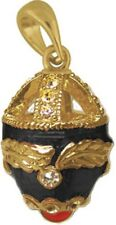 Faberge Egg Pendant / Charm with crystals 2.6 cm black #6101-13
