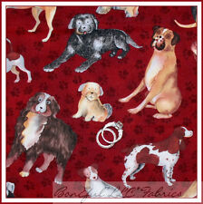BonEful Fabric FQ Cotton Quilt Red Breed Puppy Dog Paw Print German Shepherd Pug