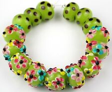 HANDMADE LAMPWORK GLASS BEADS Lime Pink Flower Loose Craft Rondelle Spacer