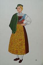 -2-5-6 Gravure costume de jeune fille de Buchenstein Tyrol Autriche
