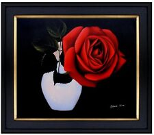 Framed, Vase with a Red Rose, Quality Hand Painted Oil Painting 20x24in