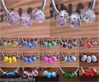 10Pcs Rondelle Faceted Charms Lampwork Glass Big Hole Beads European Bracelet