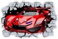 Huge 3D Concept Sports Car Crashing through wall View Sticker Mural Decal 87