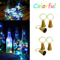 Solar LED Wine Bottle Copper Cork Shape Lights Colorful Night Fairy String Light