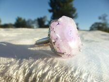 ABSOLUTELY BEAUTIFUL Silver Plated Pink Quartz RING Unusual Design SIZE 6.5