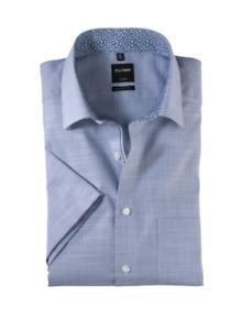 "OLYMP® LUXOR Modern Fit Short Sleeve Shirt/Red/Blue - 19"" New SS20!"