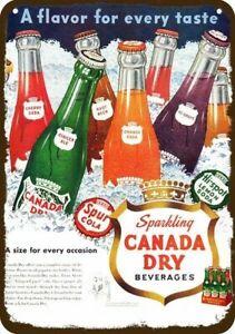 1950 CANADA DRY ORANGE - GRAPE - ALE - CHERRY Vintage Look REPLICA METAL SIGN