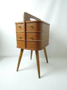 VINTAGE SEWING BOX TABLE EAMES DANISH MID CENTURY MODERN TEAK ART DECO 50s 60s
