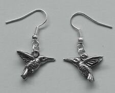 Earrings #233 Pewter HUMMINGBIRD (18mm x 13mm) Silver Tone Bird Animal Series