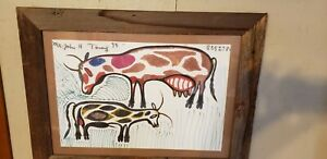 "John Henry Toney Outsider Art Folk Framed  ""She's Looking for the Bull"" No Res."