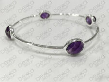 Bangle Natural Amethyst Sterling Silver Fine Bracelets