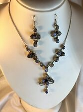 Antique Style Sterling Moonstone Necklace Earrings.Valuation Cert. $1650.