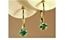 NATURAL PERIDOT EARRINGS~14 KT YELLOW GOLD LEVERBACK~4MM