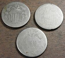 3 Shield Nickels, Circulated condition, n240