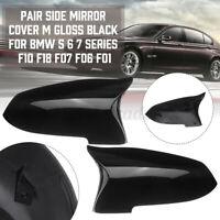 Coppia Nero Lucido Ala Laterale Retrovisore Calotta Specchietto Per BMW F10 F11