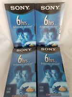 Blank Sony VHS Tapes T-120 Lot of 4 Sealed New Unopened 6 Hours Standard Grade