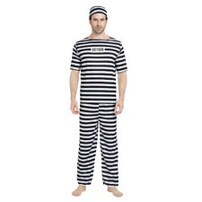 Men's Prisoner Dress Up Costume Cosplay Halloween Party Outfit
