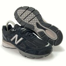 New Balance Boys 990v4 Black Gray Suede Running Shoes Grade School Sizes